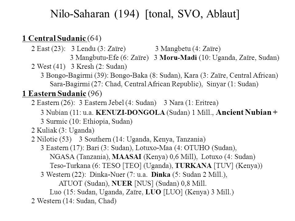 Nilo-Saharan (194) [tonal, SVO, Ablaut]